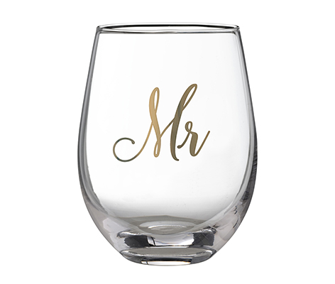 Gold Mr. Stemless Wine Glass