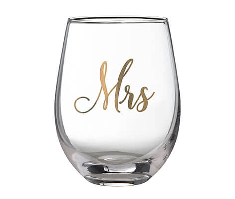 Gold Mrs. Stemless Wine Glass