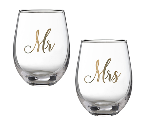 This Mr and Mrs stemless wine glass set is a great his and hers gift for the bride and groom. Use as a wedding toasting set or for relaxing at home with a glass of wine.