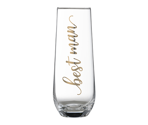"Gold ""Best Man"" Stemless Champagne Glass"
