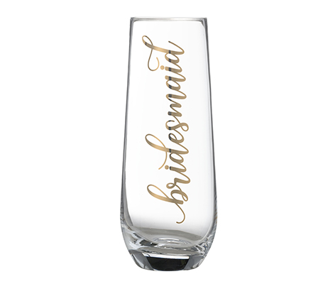 Gold Bridesmaid Stemless Champagne Glass