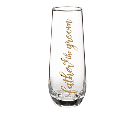 Father of Groom Stemless Champagne Glass and Wedding Toasting Glass