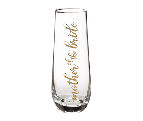 Mother of Bride Stemless Champagne Glass and Wedding Toasting Glass
