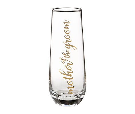 Mother of Groom Stemless Champagne Glass and Wedding Toasting Glass