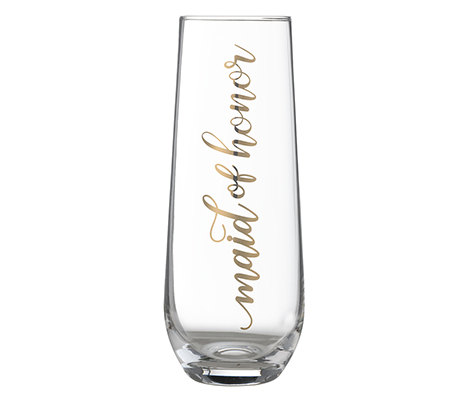 "Gold ""Maid of Honor"" Stemless Champagne Glass"