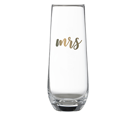 Gold Mrs. Stemless Champagne Glass