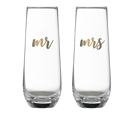 Mr & Mrs Champagne Glass Set