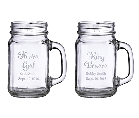 Personalized Country Wedding Mason Jar Mugs Set