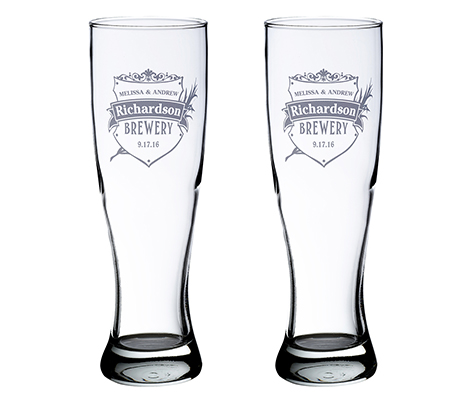 Personalized Brewery Pilsner Beer Glasses Set