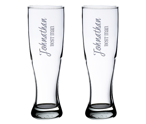 Personalized Wedding Party Pilsner Beer Glass Set