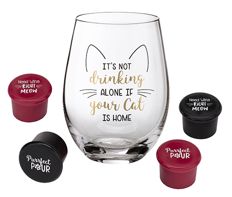 Cat Lover Wine Glass with Funny Saying and 4 Wine Bottle Stoppers