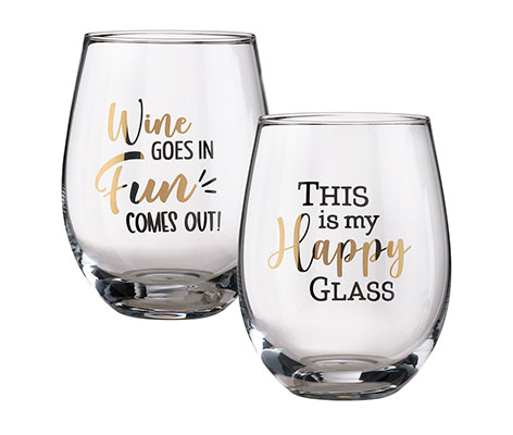 G142-HF, wine gift set, wine lover gifts, fun wine gifts,  funny wine glasses, wine glasses with sayings, wine glass with quote, wine glass with sayings