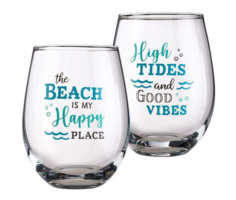 G142-TB, Beach life wine glasses, beach life gifts, fun wine gifts,  funny wine glasses, wine glasses with sayings, wine glass with quote, wine glass with sayings
