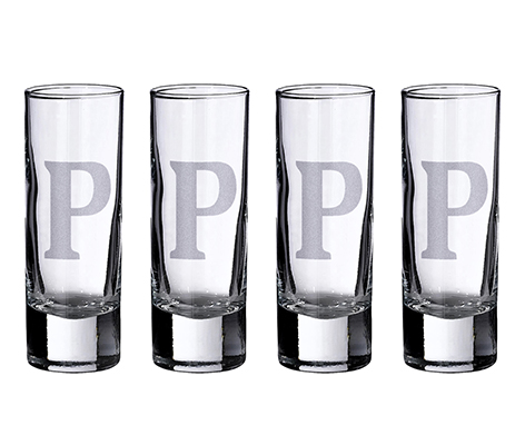 Personalized Banner Set of 4 Tall Shot Glasses