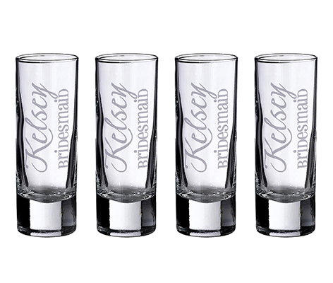 Personalized Wedding Party 4 Tall Shot Glasses