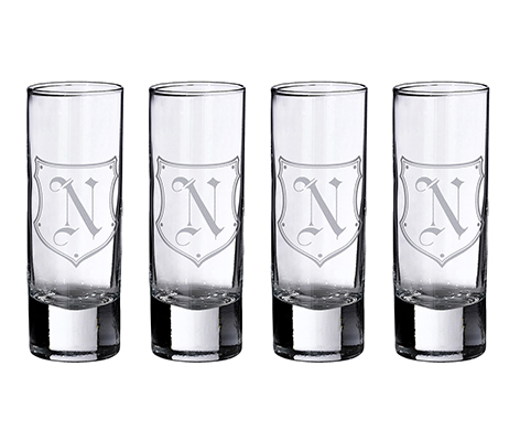 Personalized Set of 4 Monogram Letter Shot Glasses