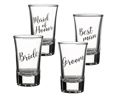 Bride, Groom, Maid of Honor, and Best Man Shot Set