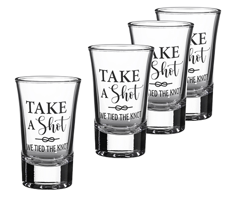 Tied the Knot Wedding Day Shot Glass Favors Set