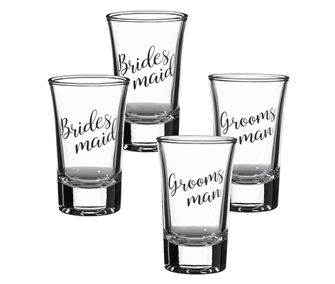 Set of 2 Bridesmaid and 2 Groomsman Shot Glasses