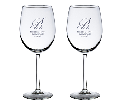 Personalized Monogram Wedding Wine Glasses