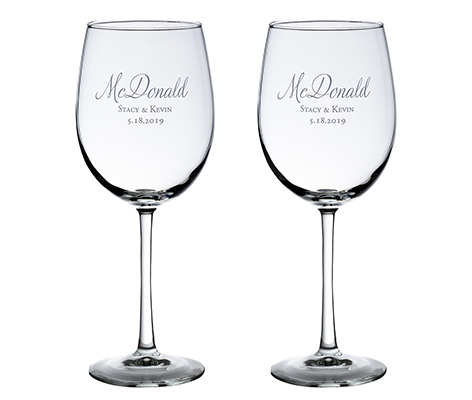 Personalized Script Wedding Wine Glasses
