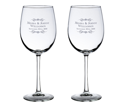 Personalized Rustic Vineyard Wedding Wine Glasses