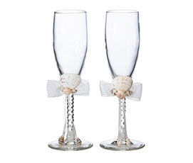 Coastal Beach Seashell Wedding Toasting Glasses