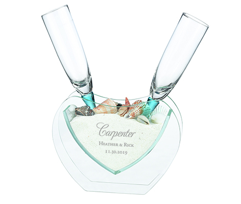 Personalized Beach Toasting Glasses Heart Vase