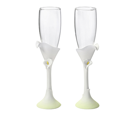 Calla Lily Flower Wedding Toasting Glasses
