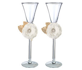 Cream Rose Toasting Glasses