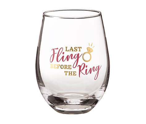 """Last Fling Before the Ring"" Stemless Wine Glass"