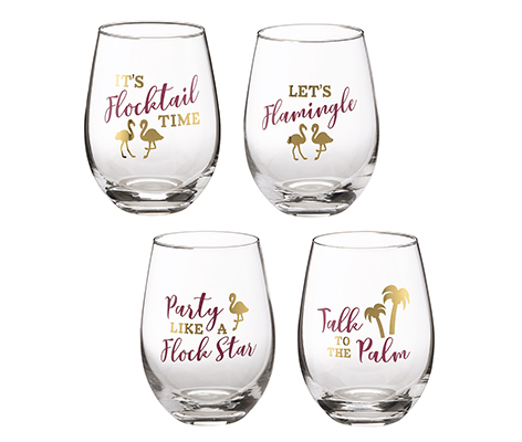Set of 4 Flamingo Party Stemless Wine Glasses with Sayings