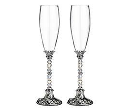 Silver Crystal Glass Beaded Toasting Glasses
