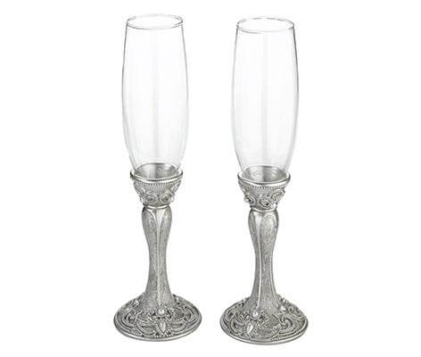 Elegant Vintage Silver Wedding Toasting Glasses