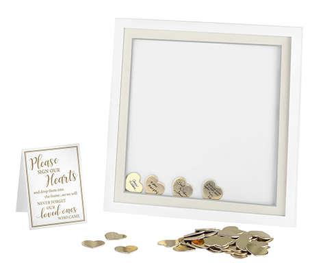 White Guest Book Alternative Signing Frame with 48 Gold Hearts
