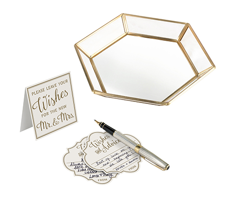 Guest Book Alternative Set with 48 Wish Cards and Gold Geometric Tray
