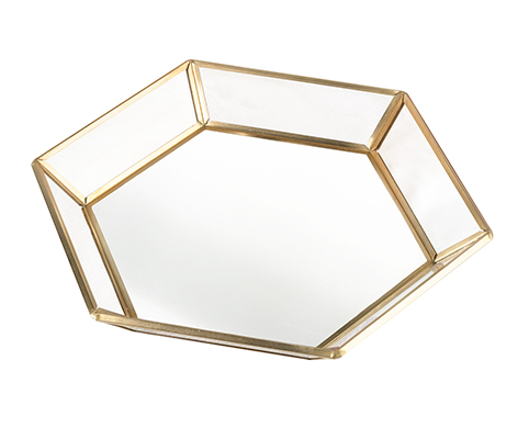 Geometric Gold Edge Mirrored Tray Wedding Guestbook Alternative