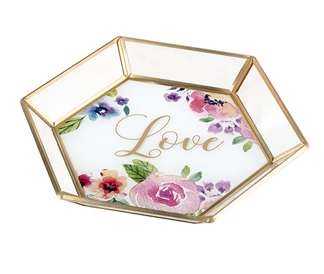 Geometric Glass Tray Wedding Guestbook Alternative in a Watercolor Floral Love Design