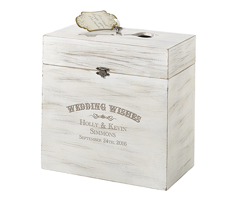 Personalized Wedding Wishes Rustic Wooden Card Box