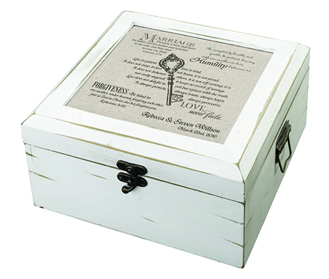Personalized Rustic Christian White Card Box