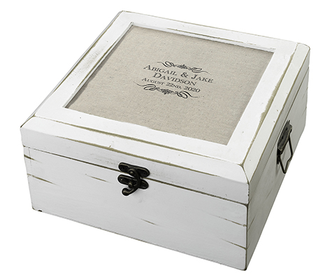 Antique White Wood Card Box Personalized