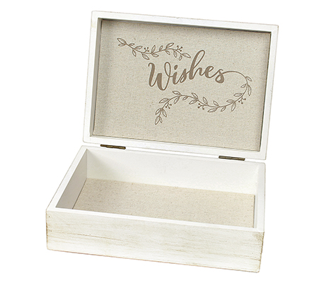 White Wooden Wishes Box