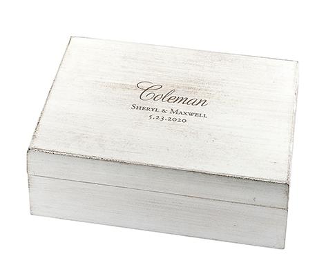 Lillian Rose White Wooden Wishes Box (Personalized)