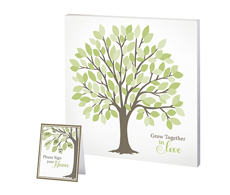 Tree Guest Book Alternative Signing Tree with Green Leaves
