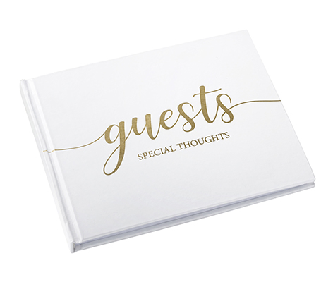 Minimalist Simple Elegant Chic White Wedding Registry Guestbook with Gold Writing