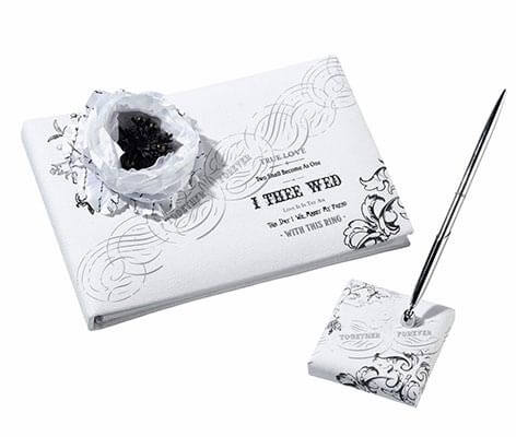 Black and White Wedding Decor Guest Book Pen Set