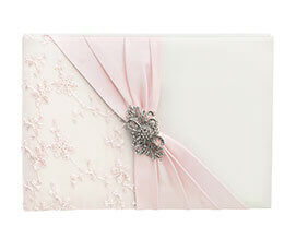 Ivory and Pink Lace Wedding Guest Book with Silver and Rhinestone Brooch