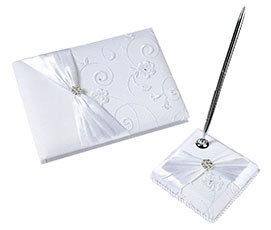 White Lace Wedding Jeweled Guest Book Pen Set