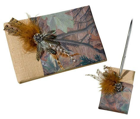Rustic Camouflage Wedding Guest Book Pen Set