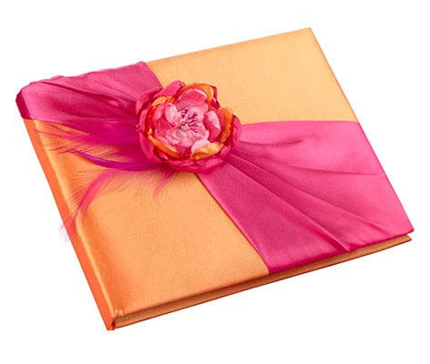 Hot Pink and Orange Wedding Guest Book